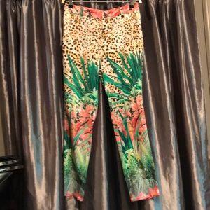Elie tahari stretch silk leopard pants us4